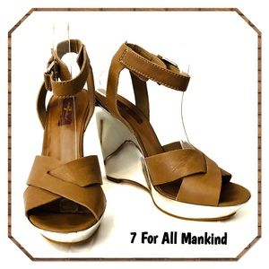 7 For All Mankind Tiara Wedge Sandals